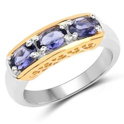 Two Tone Plated 1.23 Carat Genuine Iolite .925 Sterling Silver Ring