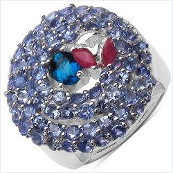 3.31 Carat Genuine London Blue Topaz , Ruby & Tanzanite .925 Sterling Silver Ring