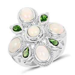 2.97 Carat Genuine Ethiopian Opal And Chrome Diopside .925 Sterling Silver Ring