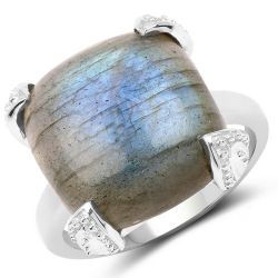 16.95 Carat Genuine Labradorite .925 Sterling Silver Ring