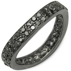 1.11 Carat Genuine Black Diamond .925 Sterling Silver Ring