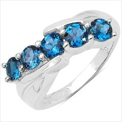 1.75 Carat Genuine London Blue Topaz .925 Sterling Silver Ring