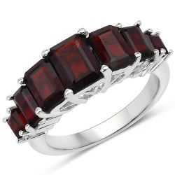 3.36 Carat Genuine Garnet .925 Sterling Silver Ring