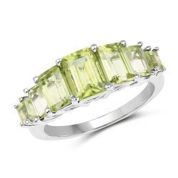 2.96 Carat Genuine Peridot .925 Sterling Silver Ring
