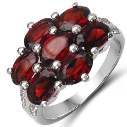 4.28 Carat Genuine Garnet & White Topaz .925 Sterling Silver Ring