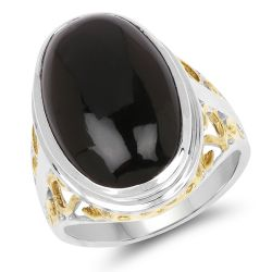 Two Tone Plated 10.92 Carat Genuine Black Onyx .925 Sterling Silver Ring