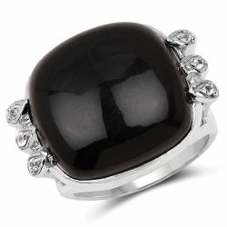 14.04 Carat Genuine Black Onyx & White Topaz .925 Sterling Silver Ring