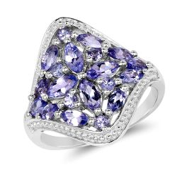1.57 Carat Genuine Tanzanite .925 Sterling Silver Ring