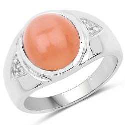 6.59 Carat Genuine Peach Moonstone and White Topaz .925 Sterling Silver Ring