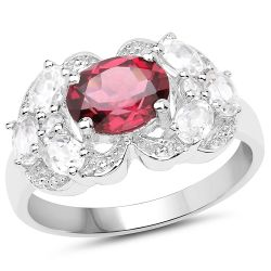 3.16 Carat Genuine Rhodolite and White Zircon .925 Sterling Silver Ring