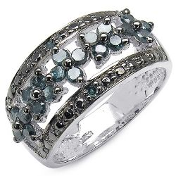 0.62 Carat Genuine Blue Diamond .925 Sterling Silver Ring