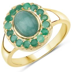 14K Yellow Gold Plated 1.83 Carat Genuine Emerald .925 Sterling Silver Ring
