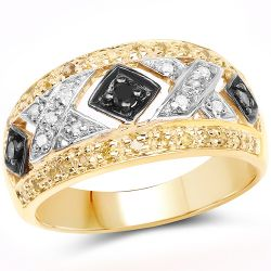 """14K Yellow Gold Plated 0.28 Carat Genuine Black Diamond, White Diamond & Yellow Diamond .925 Sterling Silver Ring"""