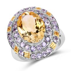 Two Tone Plated 6.33 Carat Genuine Citrine & Tanzanite .925 Sterling Silver Ring