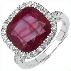 7.55 Carat Genuine Ruby & White Topaz .925 Streling Silver Ring