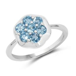 0.98 Carat Genuine Swiss Blue Topaz .925 Sterling Silver Ring