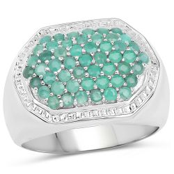 1.43 Carat Genuine Emerald .925 Sterling Silver Ring