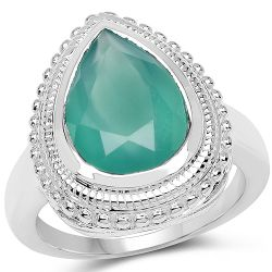 4.35 Carat Genuine Green Onyx .925 Sterling Silver Ring