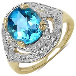 14K Yellow Gold Plated 3.25 Carat Genuine Swiss Blue Topaz .925 Sterling Silver Ring