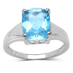 3.50  Carat Genuine Blue Topaz .925 Sterling Silver Ring