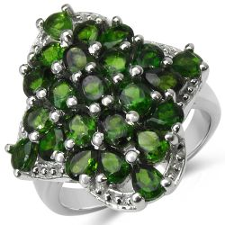 3.73 Carat Genuine Chrome Diopside .925 Sterling Silver Ring