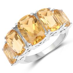 11.10 Carat Genuine Citrine .925 Sterling Silver Ring