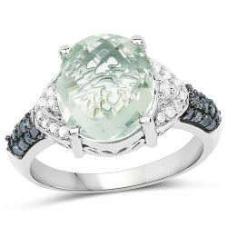 4.24 Carat Genuine Green Amethyst, Green Diamond & White Diamond .925 Sterling Silver Ring