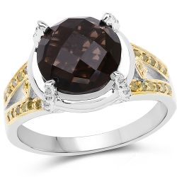 3.28 Carat Genuine Smoky Quartz, Yellow Diamond & White Diamond .925 Sterling Silver Ring
