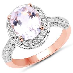 14K Rose Gold Plated 3.86 Carat Genuine Kunzite and White Zircon .925 Sterling Silver Ring