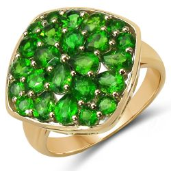 14K Yellow Gold Plated 2.96 Carat Genuine Chrome Diopside .925 Sterling Silver Ring