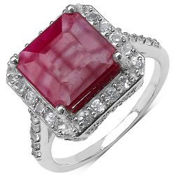 5.35 Carat Genuine Ruby .925 Sterling Silver Ring