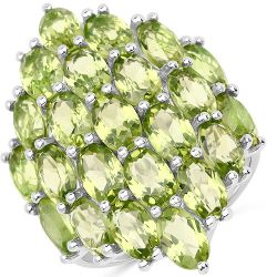 10.35 Carat Genuine Peridot  .925 Sterling Silver Ring Ring
