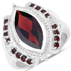 4.06 Carat Genuine Garnet .925 Sterling Silver Ring