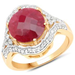 14K Yellow Gold Plated 6.91 Carat Dyed Ruby and White Topaz .925 Sterling Silver Ring