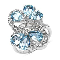 5.13 Carat Genuine Blue Topaz & White Topaz .925 Sterling Silver Ring