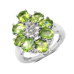 3.31 Carat Genuine Peridot & White Topaz .925 Sterling Silver Floral Shape Ring