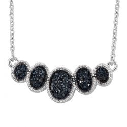Sterling Silver Necklace With Rhodium Plating And Black Diamond Of S14 Clarity.