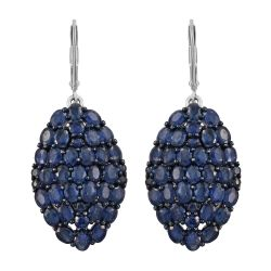 Exquisite Sterling Silver Earring With Rhodium Plating And Kanchanaburi Blue Sapphire Gemstone.