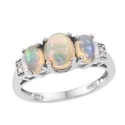Ethiopian Opal Sterling silver ring polished with rhodium.