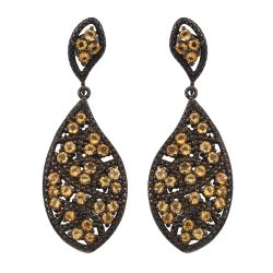Black Ruthenium Plated Sterling Silver Drop Earring With Citrine Gemstones.