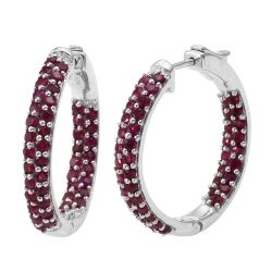Look Style Rhodium Plated Sterling Silver Earring With Polished Ruby All Over