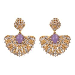 Elegant Sterling Silver Earring With Yellow Gold Plating And Purple Jade And Natural White Zircon Gemstones