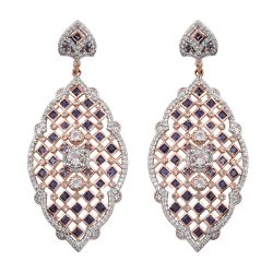 Elegant Sterling Silver Earring With Rose Gold Rhodium Plating And Petalite, Iolite, Natural White Zircon Gemstones.
