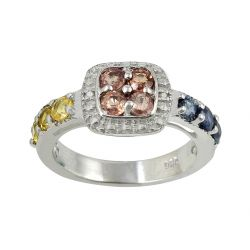 Multi Sapphire And Diamond Sterling Silver Ring Set In Rhodium
