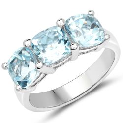 Exquisite Looking Sterling Silver Ring With Polished Blue Topaz Cushion Gemstones.
