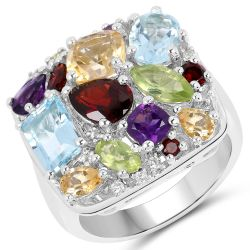 Rhodium Plated Sterling Silver Ring Jeweled With Polished Blue Topaz, Peridot Marquise, Garnet, Citrine, Garnet Marquise, African Amethyst, Peridot, Blue Topaz, Citrine Cushion, African Amethyst Cushion, And White Topaz.