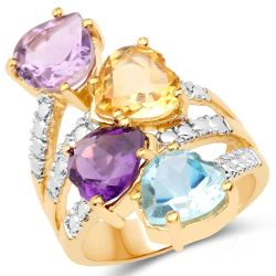 Sterling Silver Ring With Polished Blue Topaz, Citrine, African Amethyst And Pink Amethyst Gemstones And Yellow Gold Plating.