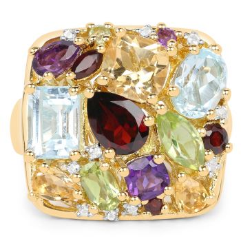 Yellow Gold Plated Sterling Silver With Polished Blue Topaz, Peridot Marquise, Garnet, Citrine, Garnet Marquise, African Amethyst, Peridot, Blue Topaz, And Citrine Cushion, African Amethyst Cushion, And White Topaz Gemstones.