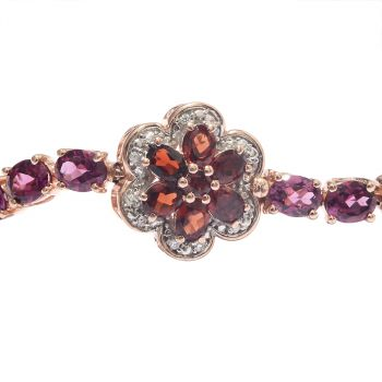 Sterling Silver Bracelet With Rose Gold Plating And Rhodolite Garnet, Natural White Zircon, Red Garnet Stones.