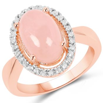 Beautiful Sterling Silver Ring With Rhodium Gold Plating And Polished Morganite Cab, White Topaz Gemstones.